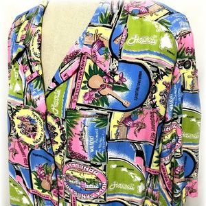 Hawaiian Top Button Front Island Design USA 18/20